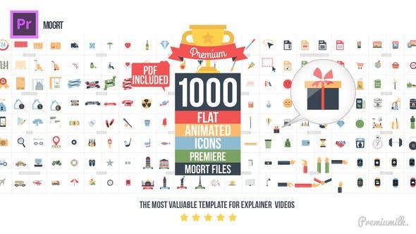 Premiere预设-1000个MG扁平化多类型Icon图标动画PR预设 Flat Animated Icons