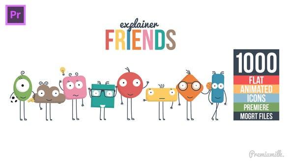 Premiere预设-1000个可爱卡通小人解说场景图标MG动画PR预设 Explainer Friends