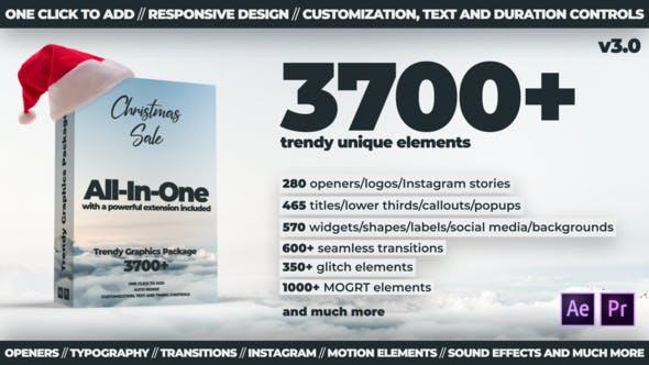 AE脚本+PR模板-3700种文字标题排版设计LOGO图形元素音效转场调色特效合集包 Trendy Graphics v3.0破解版