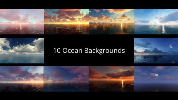 10组海洋碧水蓝天白云风景延时动画视频背景素材