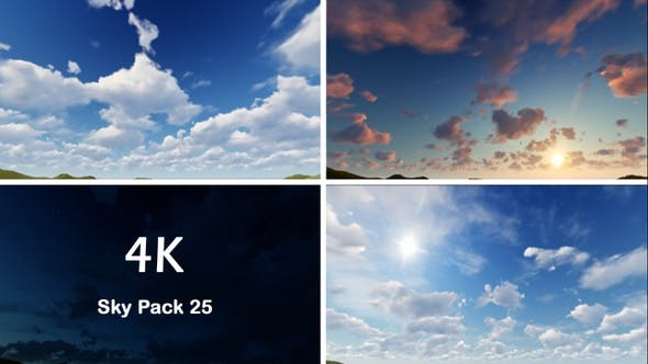 25个蓝天白云晴空万里延时拍摄4K视频素材 Sky Pack