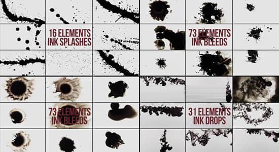 120个水墨滴落飞溅扩散渗透动画视频素材打包下载
