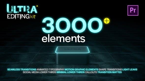 3000种文字标题排版指示线图形动画视频PR无缝转场剪辑工具素材包