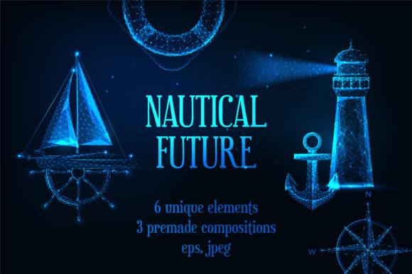 未来科技风格航海元素插画矢量素材包
