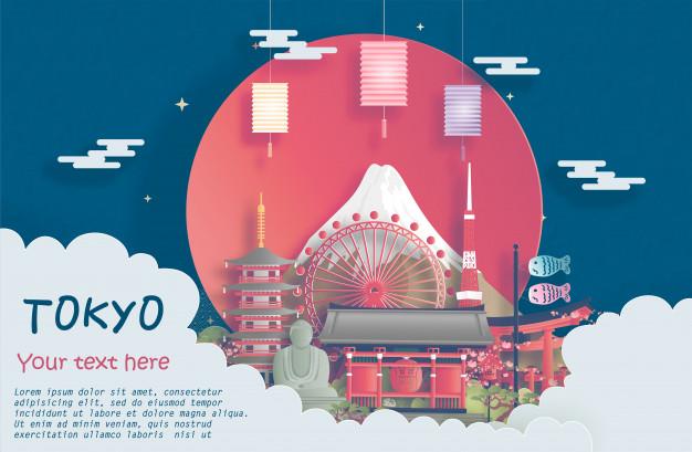 一组日本旅游矢量EPS元素插画素材