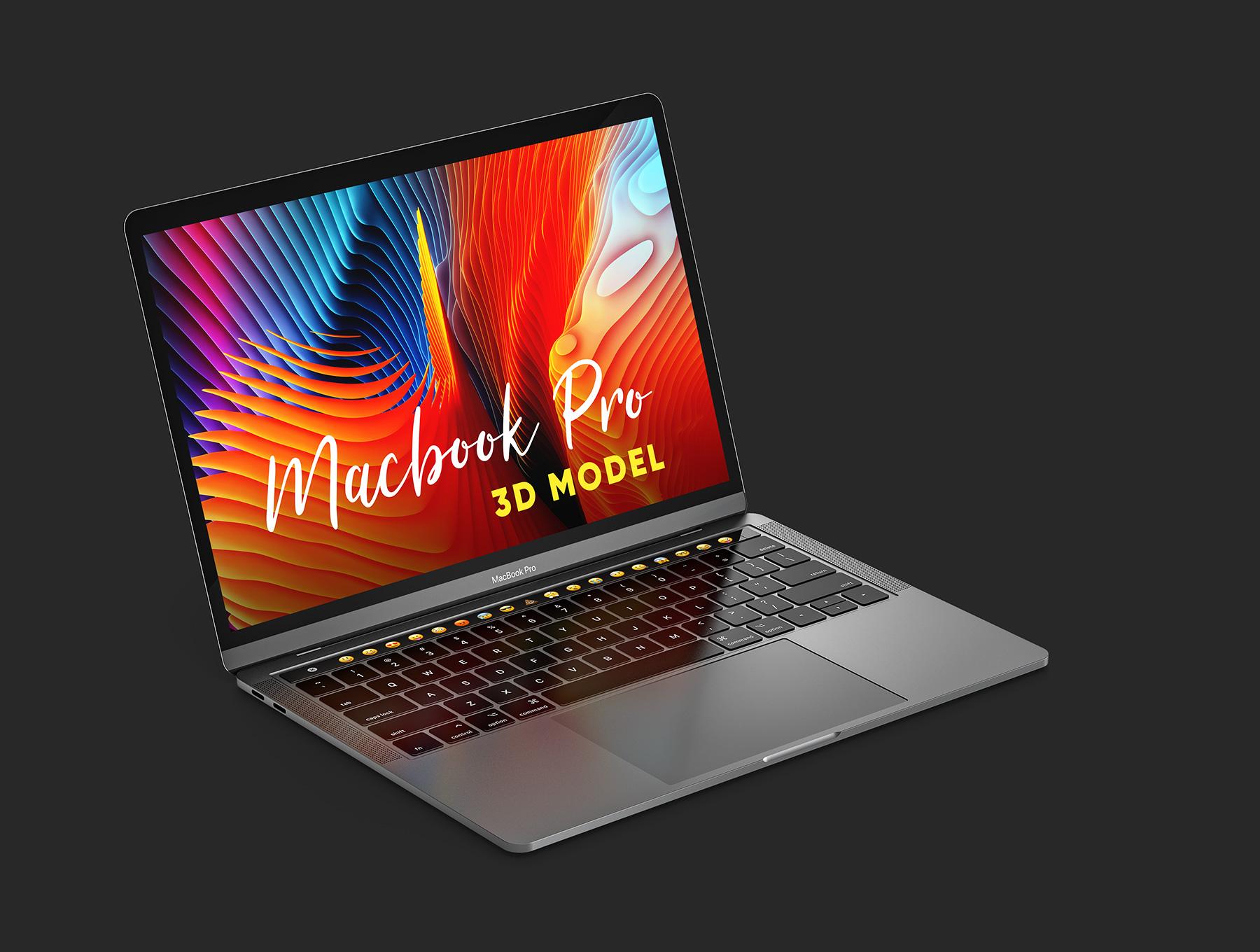 新款MacBook Pro模型C4D素材文件下载