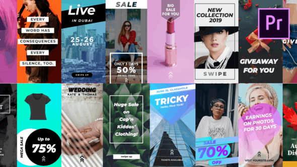 21个时尚排版竖屏封面图形标题PR动画模板