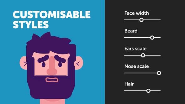 自定义二维人物角色面部绑定MG动画制作工具 Customisable Character Face Rig