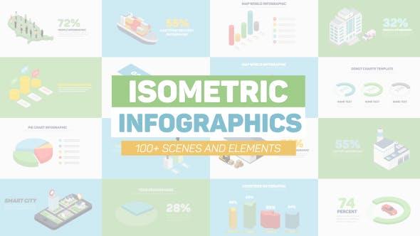 100个扁平化商务企业三维等距信息数据图表动画