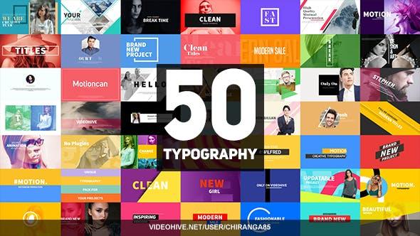 50个时尚宣传文字图文排版标题AE模板动画