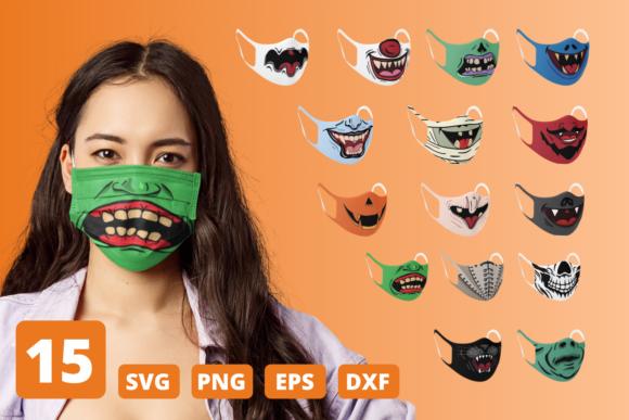 万圣节搞怪口罩卡通图案矢量素材包下载