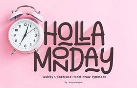 一款好玩有趣的Holla Monday 手写英文字体