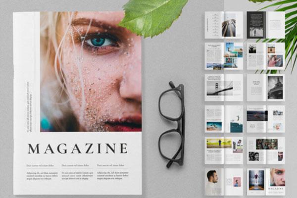 一套极简主义风格杂志版面VI设计模板