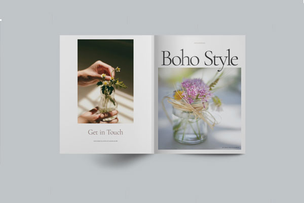 波西米亚风格杂志画册布局设计模板