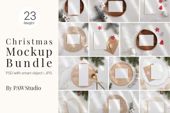 23个圣诞贺卡展示样机PSD套装素材