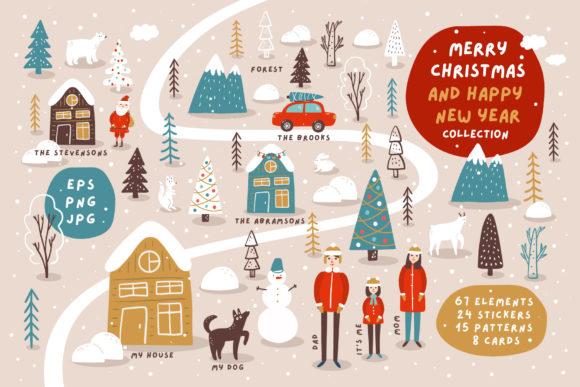 圣诞节&新年快乐主题矢量插画eps图形素材合集