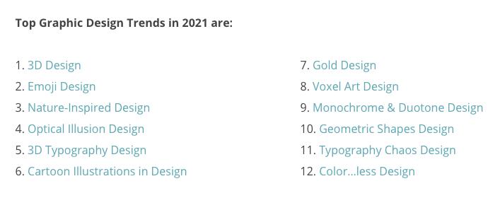 2021年最新设计趋势发布,共有12种类型