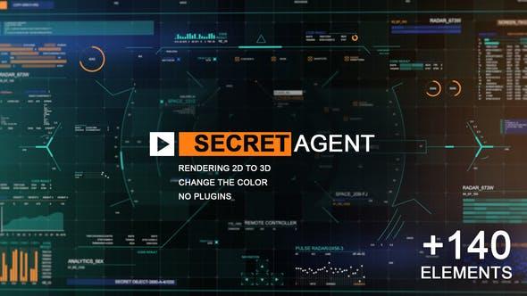 140种HUD科技军事间谍UI图表界面AE动画模板素材