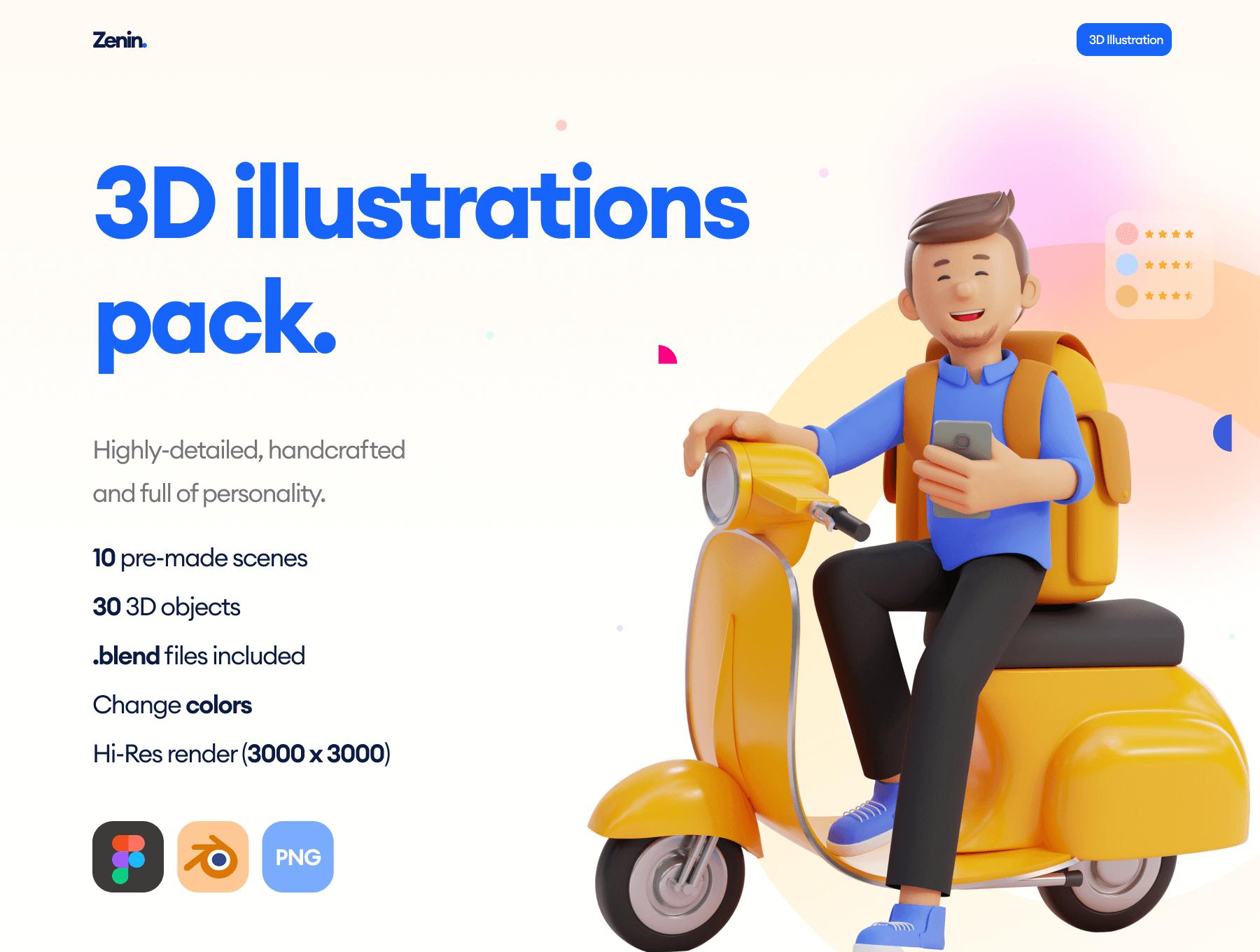 10个场景30个Blender格式的3D插画素材包