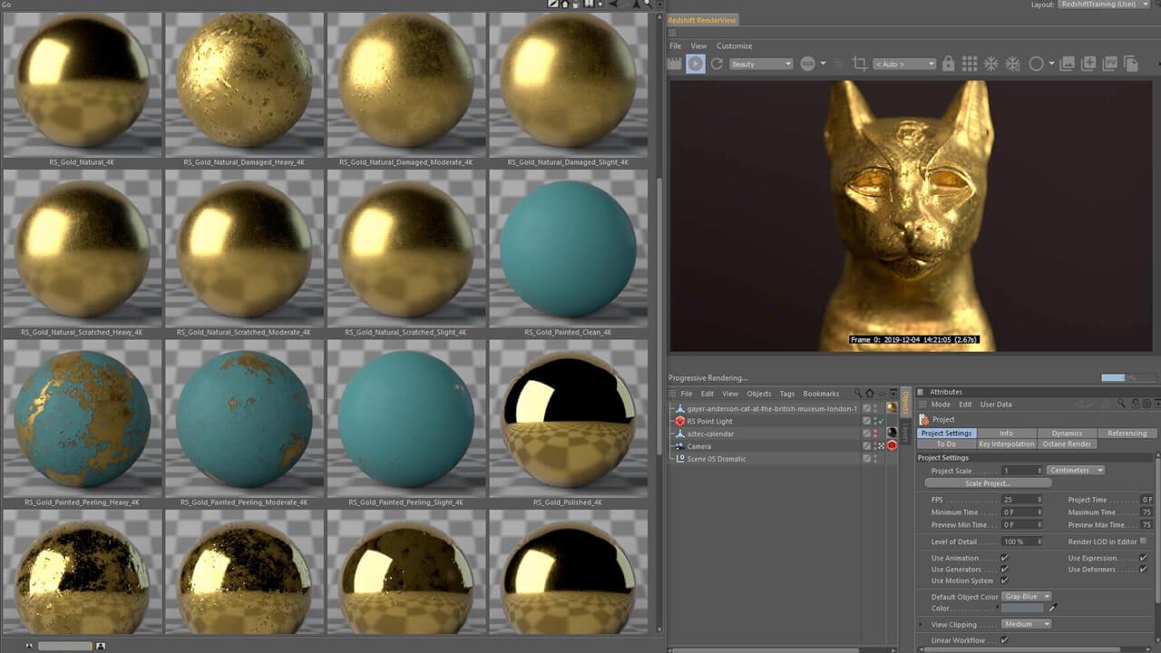 260多个Redshift金属质感钢铁黄金银铜等材质预设C4D素材包