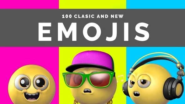 100个带有透明通道的3D卡通搞怪Emojis表情视频素材