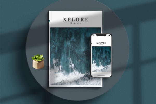 极简主义简洁风格杂志版面VI设计模板
