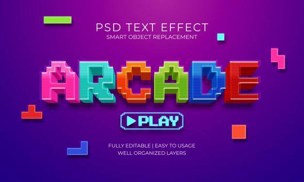 游戏街机文本效果PSD样式素材