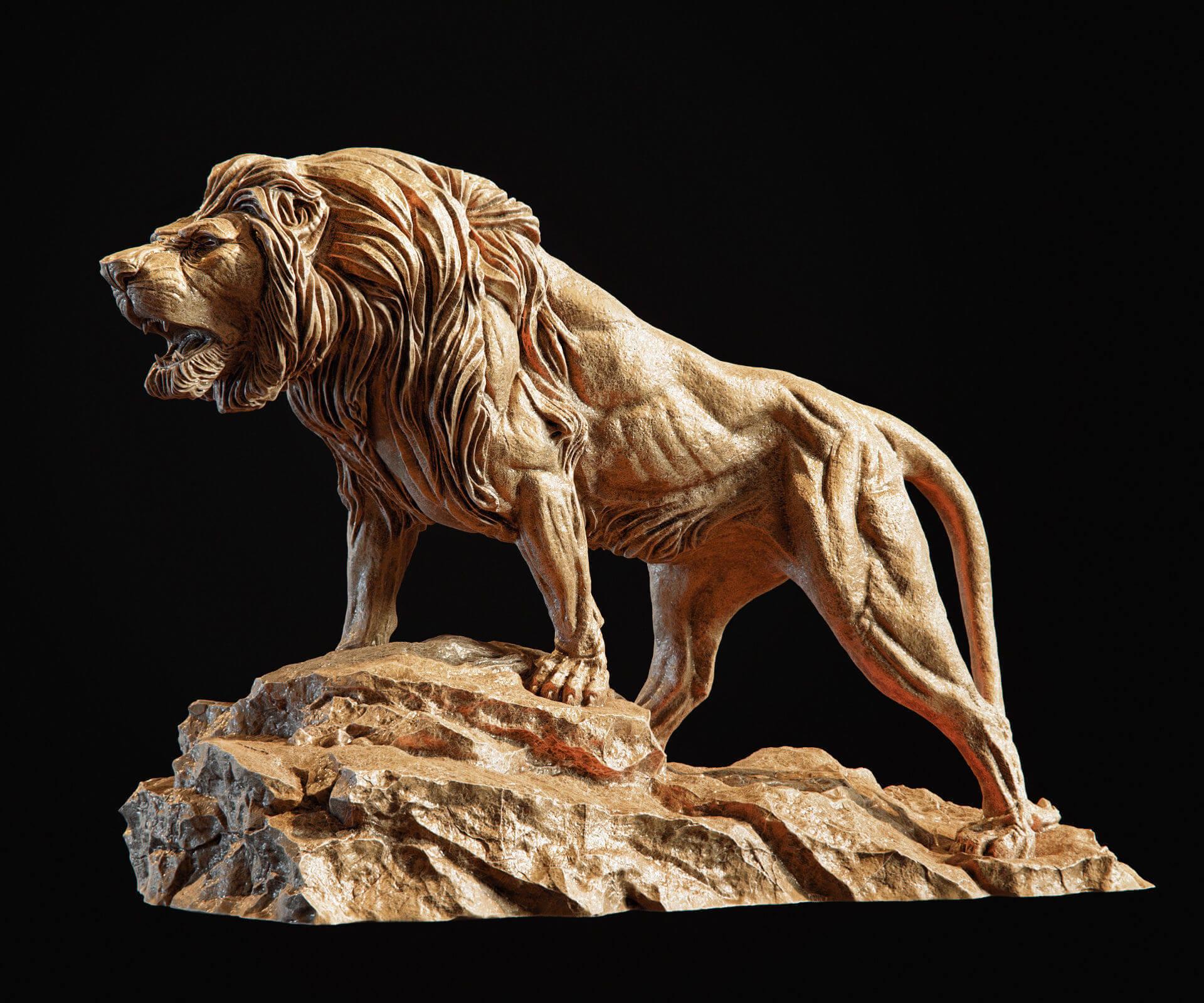 狮子雄狮狮子雕塑C4D模型素材