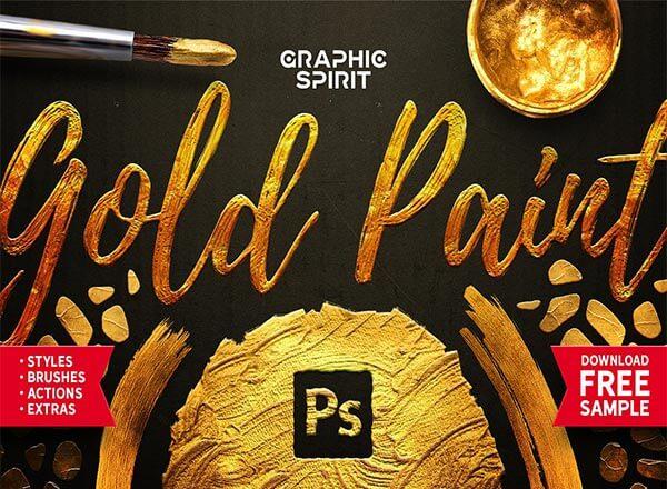 216个金色油漆质感PS效果素材大集合