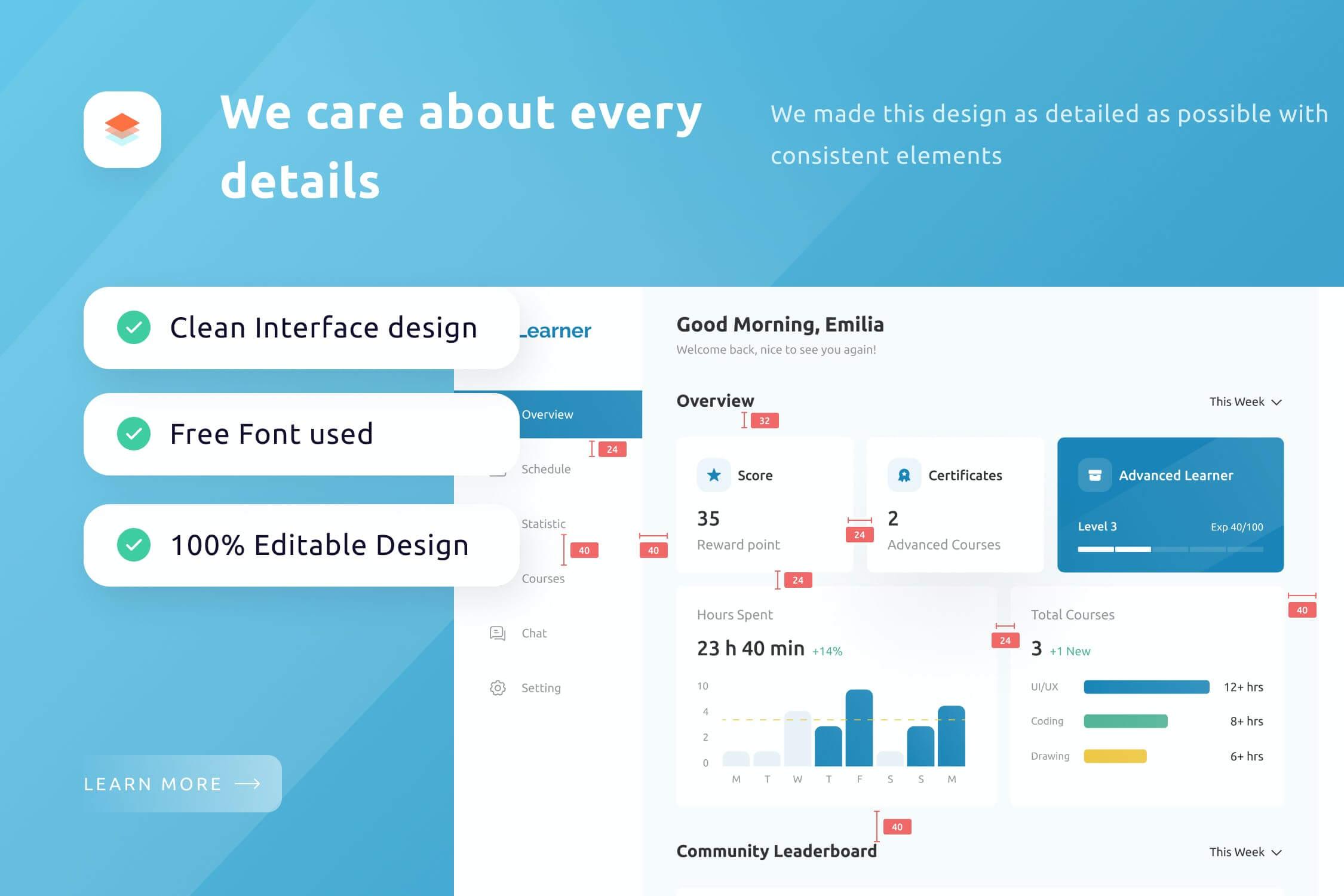 一套学习主题相关后台管理网页UI素材模板