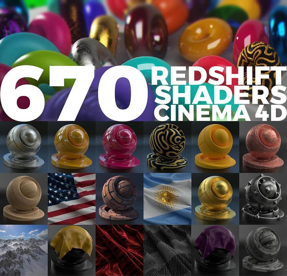 670个超逼真有细节的Redshift材质预设C4D素材包