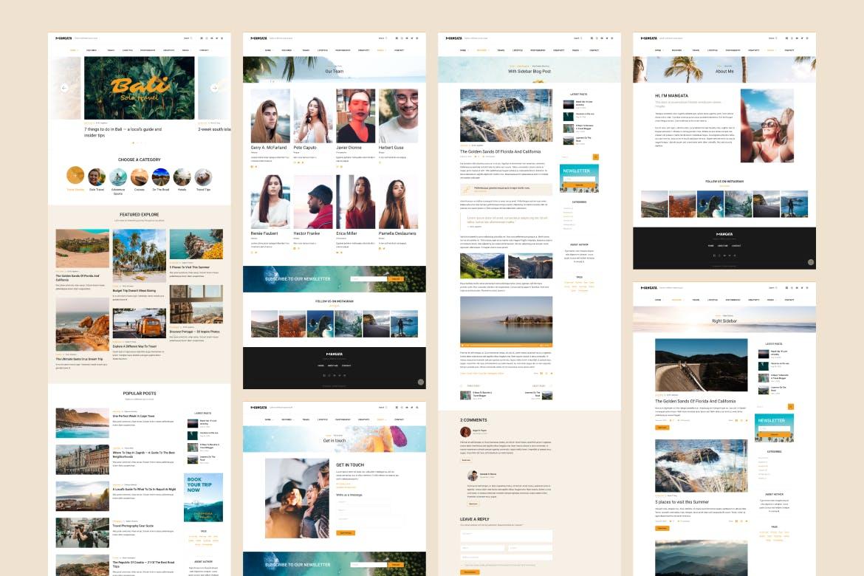 一套旅行博客网页设计模板素材