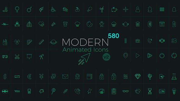 580个网络媒体生活购物食物器材工具图标AE动画模板