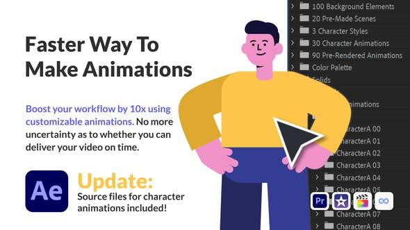 商务办公MG卡通人物场景动画AE/PR素材模板