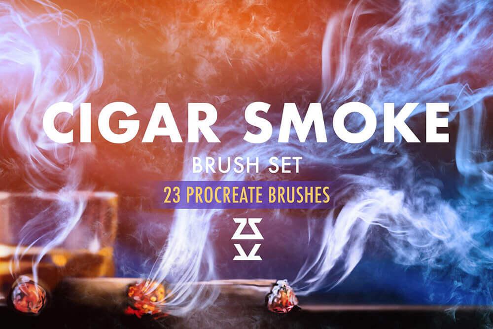 23种高分辨率雪茄烟雾Procreate笔刷素材