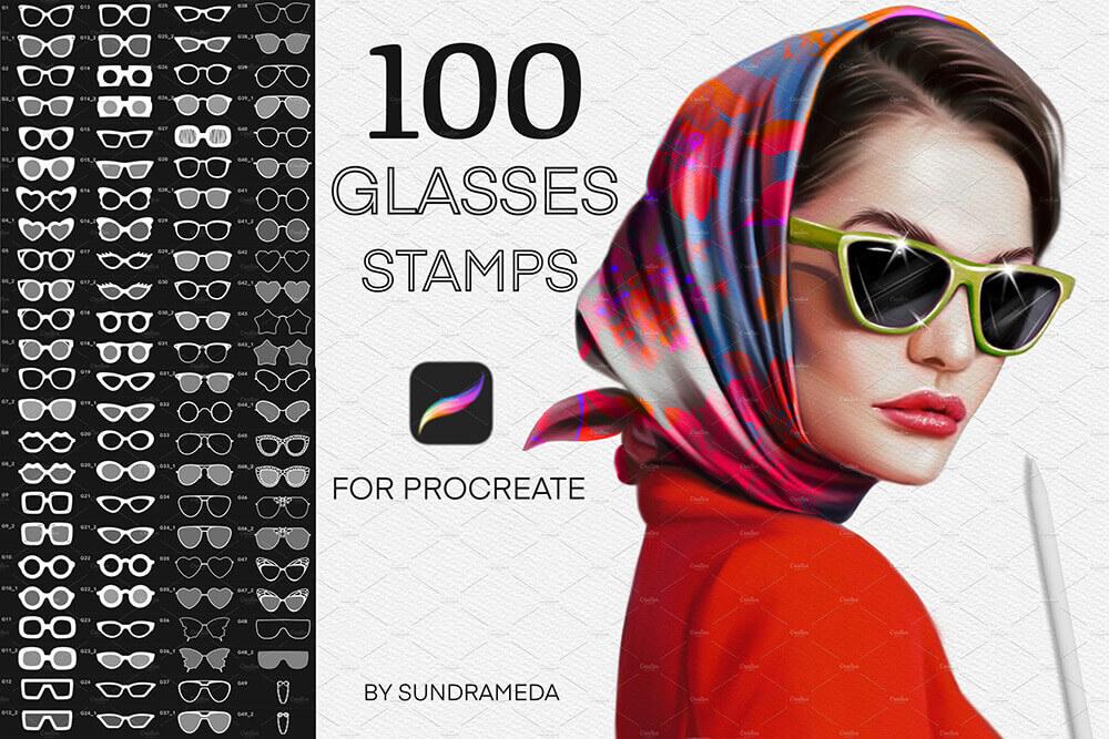 适合用在Procreate上的眼镜图案笔刷素材