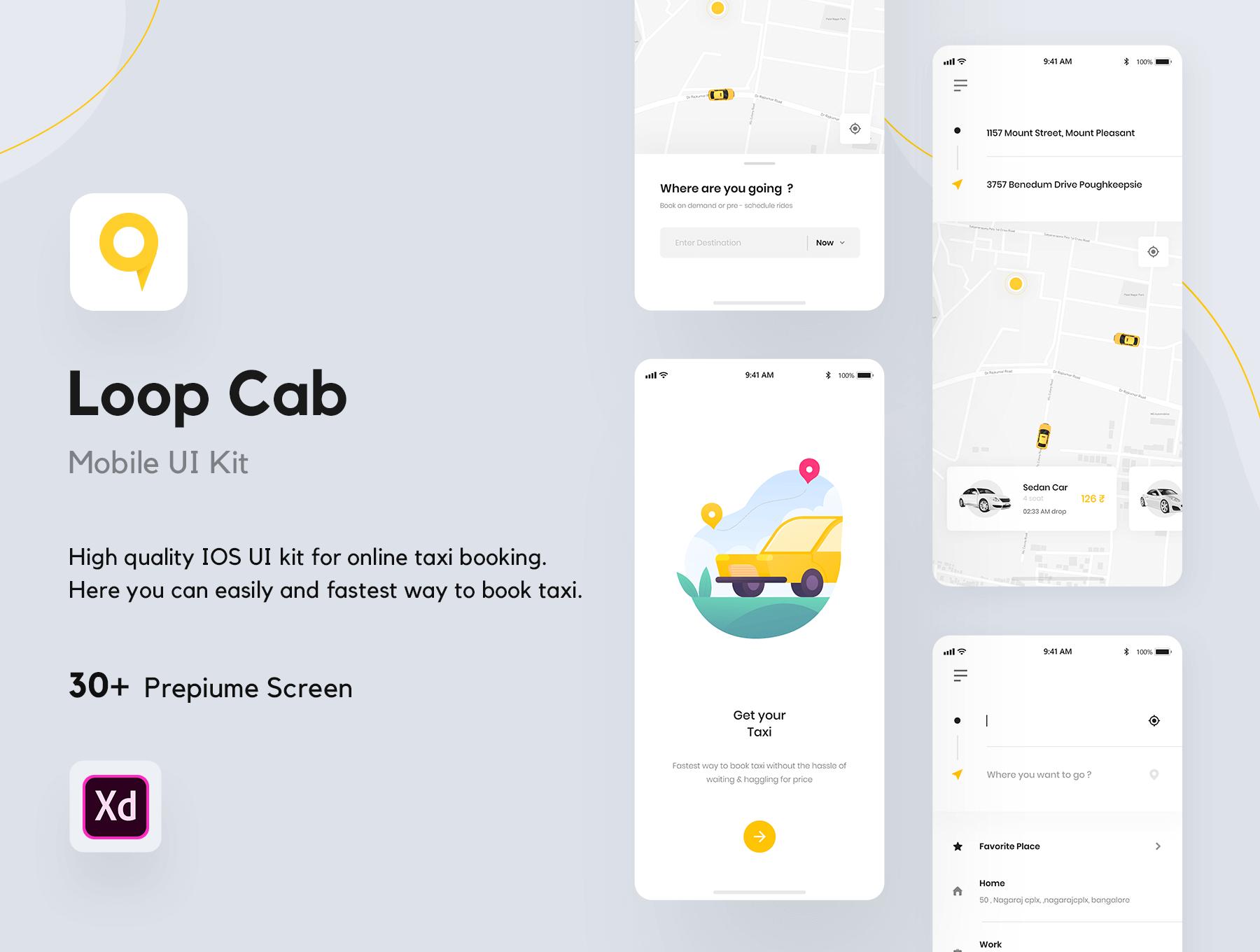 一套黄颜色主色调的出租车预订APP UI KIT素材