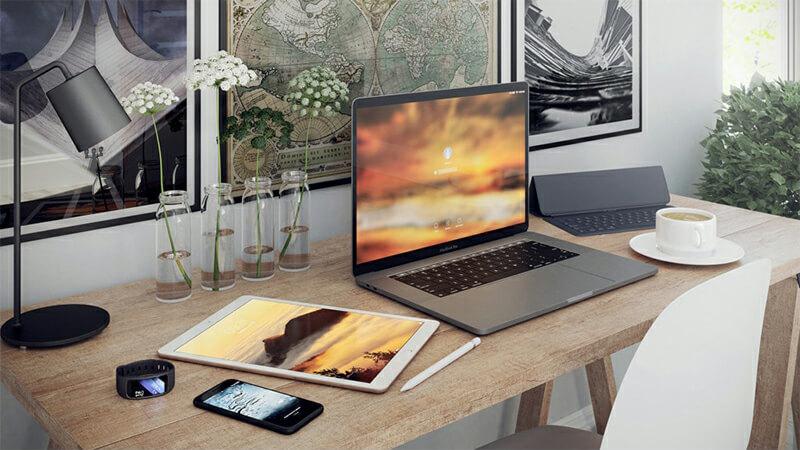 室内场景模型macbook电脑产品场景C4D模型