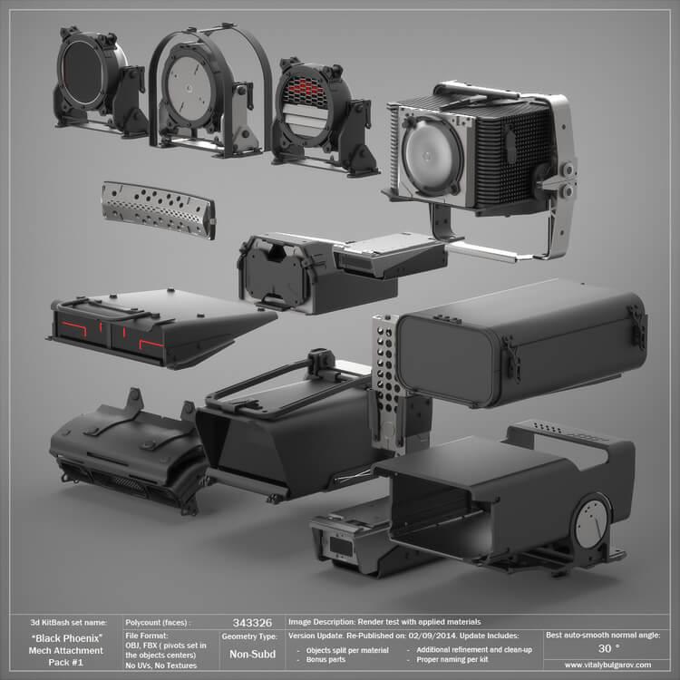 精品素材:国外3D KitBash库全套模型工业零部件模型零件C4D模型