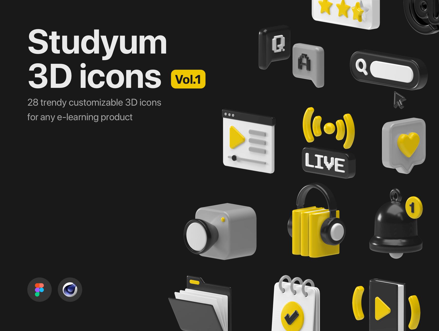28个适合于任何电子学习产品的C4D可定制3D图标素材