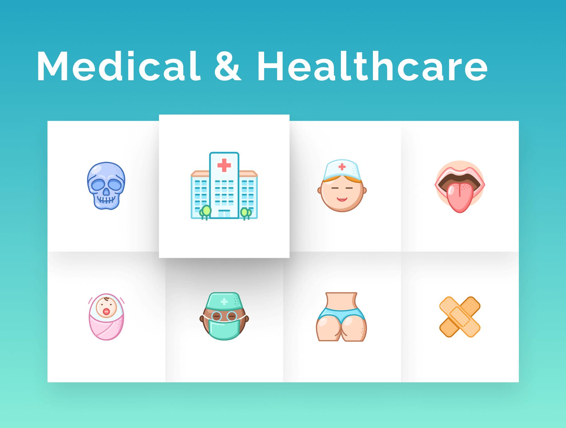 64个超有细节的医疗医院保健类ICON图标素材