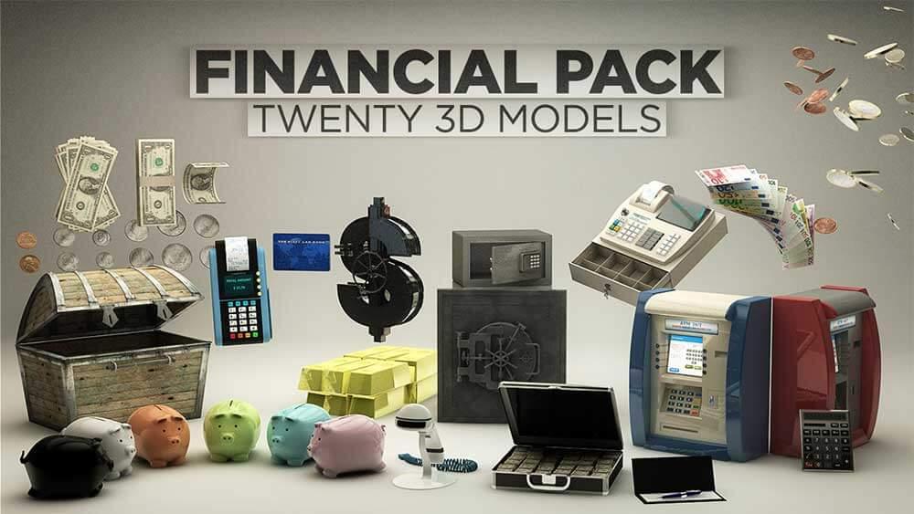 硬币纸币POS机等金融相关C4D/E3D模型素材