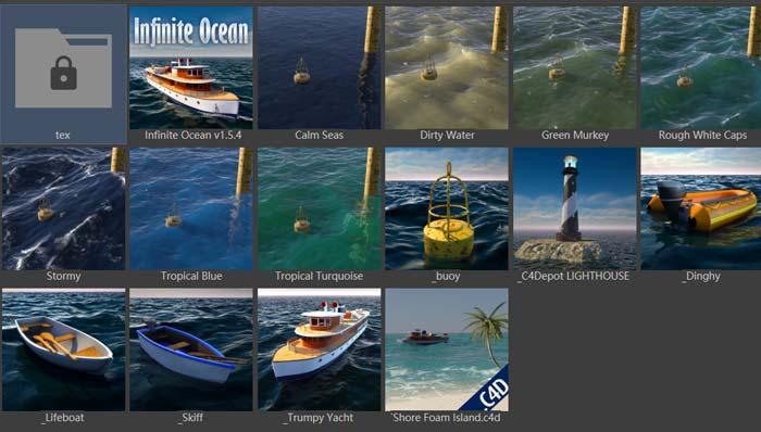 C4D海洋预设Infinite Ocean 1.5.4 for Cinema 4D R12-R24 Win/Mac
