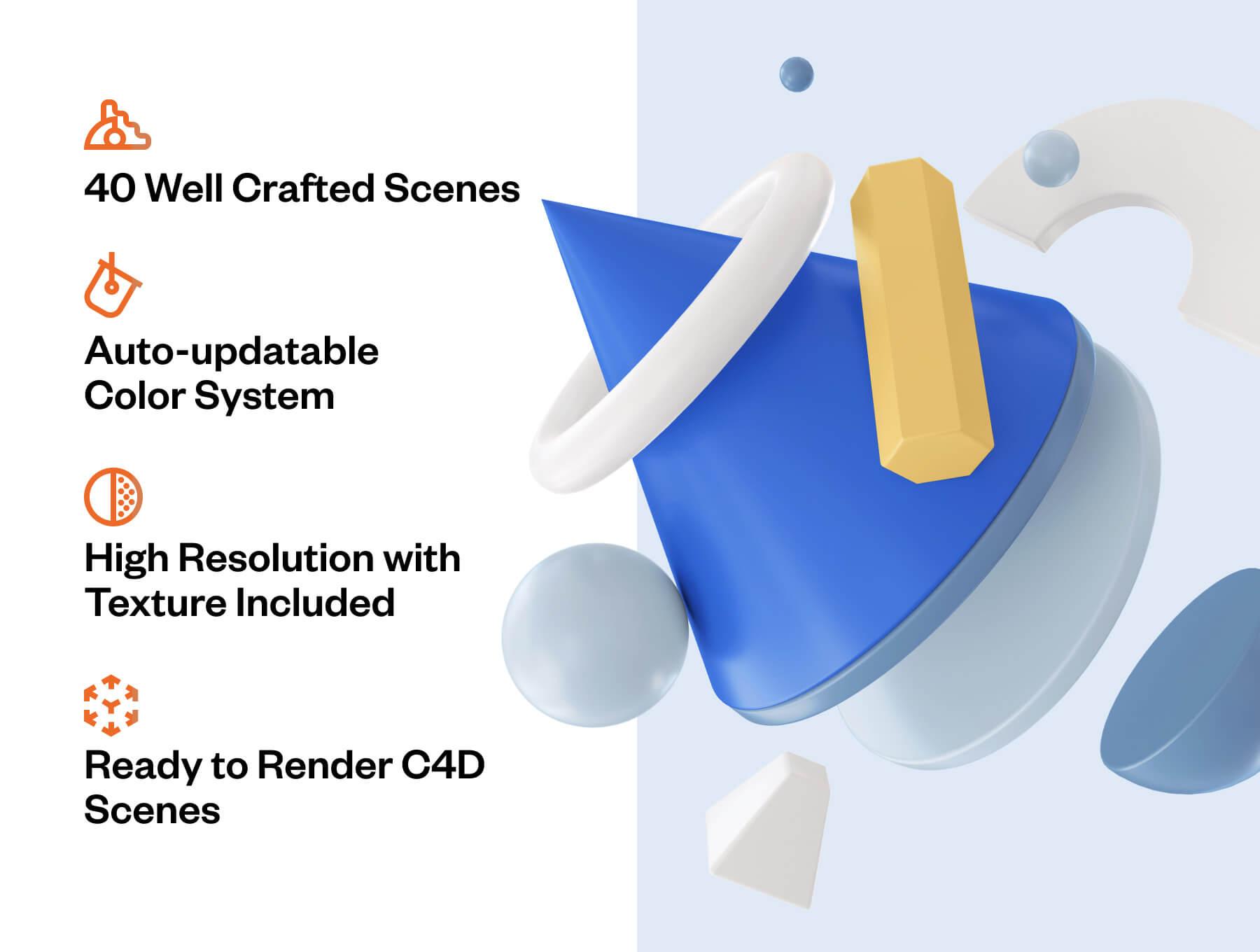 40个设计精致的网站电商BANNER视觉C4D场景元素素材