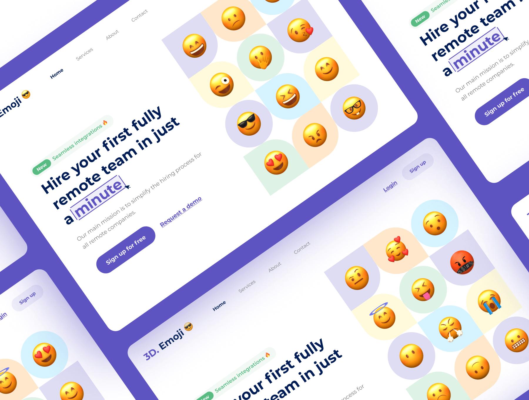70个非常精致的Emoji表情包3D模型C4D模型表情包素材