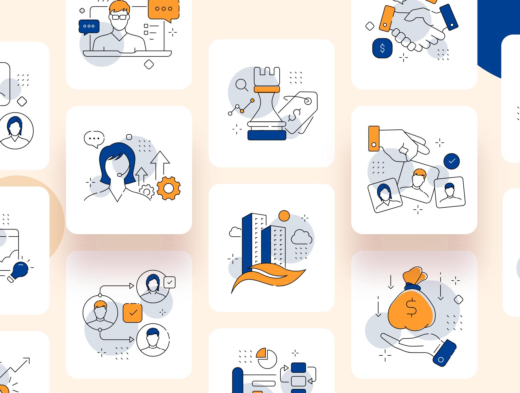 24个精致的业务管理类双色图标素材包