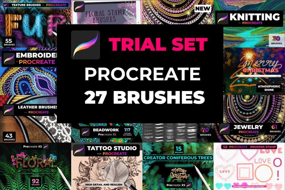 27个数字艺术绘画Procreate笔刷素材包