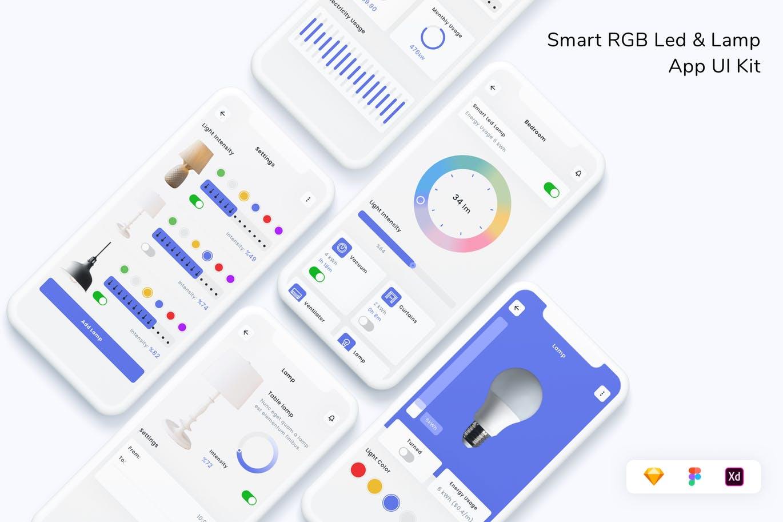 绚丽多彩的智能RGB Led灯光控制APP UI Kit素材