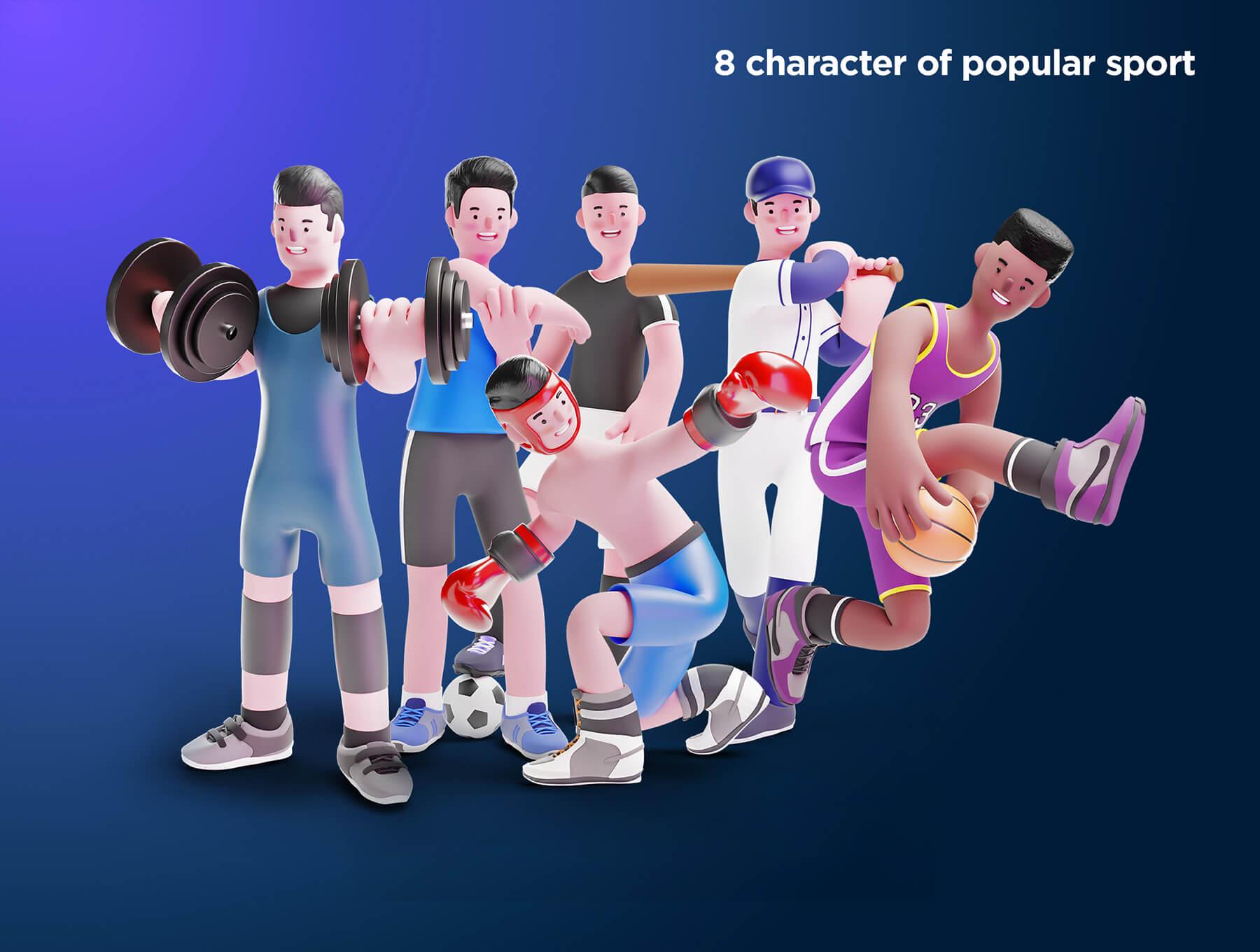 一套3D角色运动类插画和3D运动元素ICON素材包