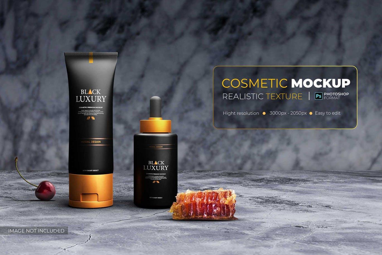一套化妆品黑色奢华风格PSD样机素材包